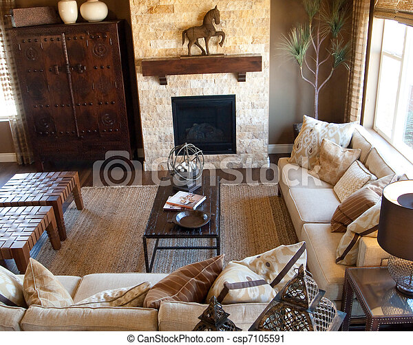 Western living room. Attractive modern living room decorated ...