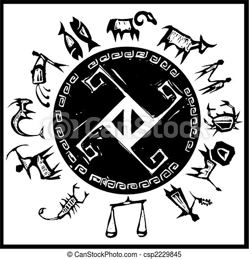 Primitive Western Zodiac Around A Center Cross Design
