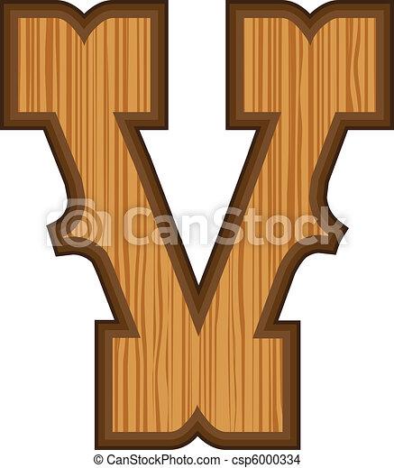 Western V letter - csp6000334