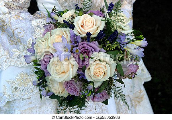 Western Wedding Dress And Purple Wedding Bouquet Western Wedding