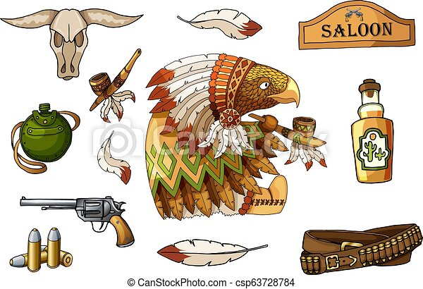 Western wild west art stickers set. Gun, skull, flask, feathers and other items - csp63728784