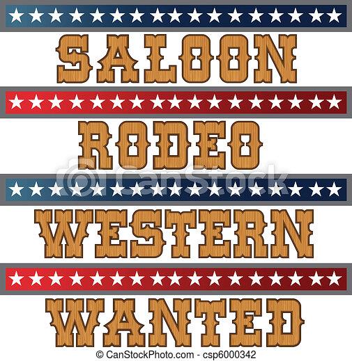 Western wood text - csp6000342