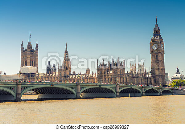 Westminster Bridge and Houses of Parliament, London - csp28999327