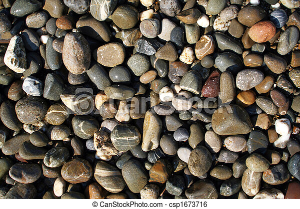 wet pebbles in waves of the Black Sea - csp1673716