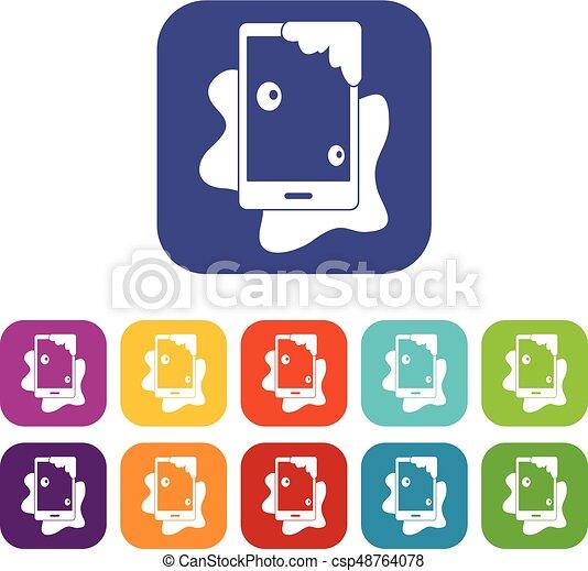 Wet phone icons set flat