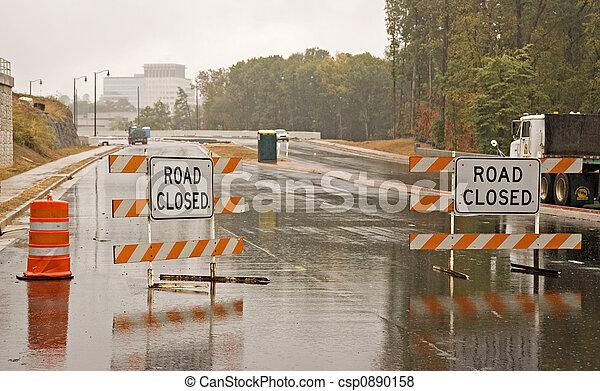 Wet Road Closed - csp0890158