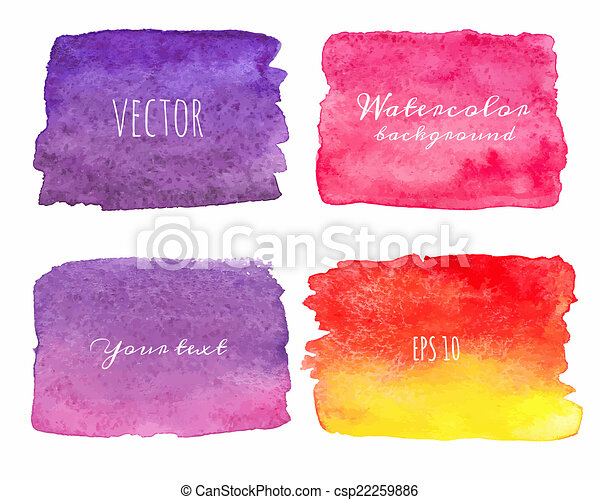 Wet Watercolor Ombre Backgrounds. Hand Painted.  - csp22259886