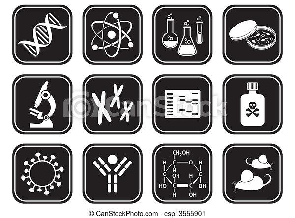 wetenschap, biologie, iconen - csp13555901