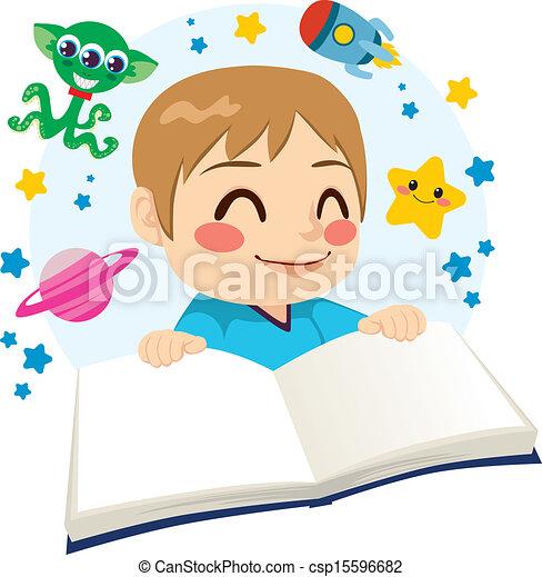 wetenschap, jongen lees, boek, fictie - csp15596682