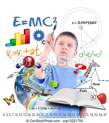wetenschap, school, opleiding, jongen, schrijvende  - csp13221754