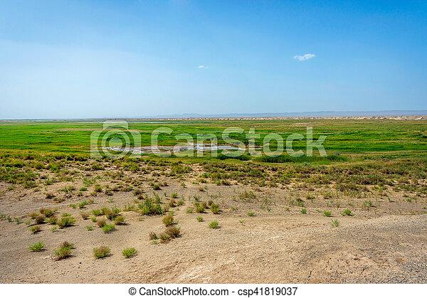 Wetland oasis lake in Gobi desert, Dunhuang, China - csp41819037