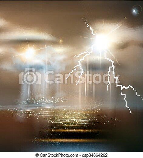 Vector Seescape mit Sturm, schlechtes Wetter, Gewitter - csp34864262