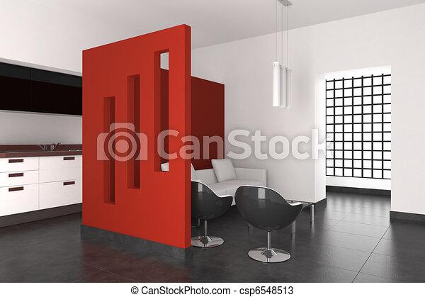 wewnętrzny, żyjący, nowoczesny pokój, kuchnia - csp6548513