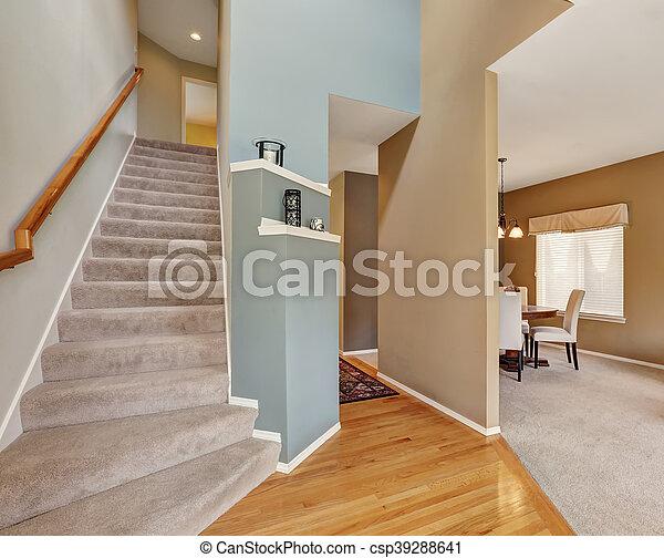 Nowoczesna architektura Wewnętrzny, korytarz, dywan, schody, podłoga. Korytarz, schody EG54