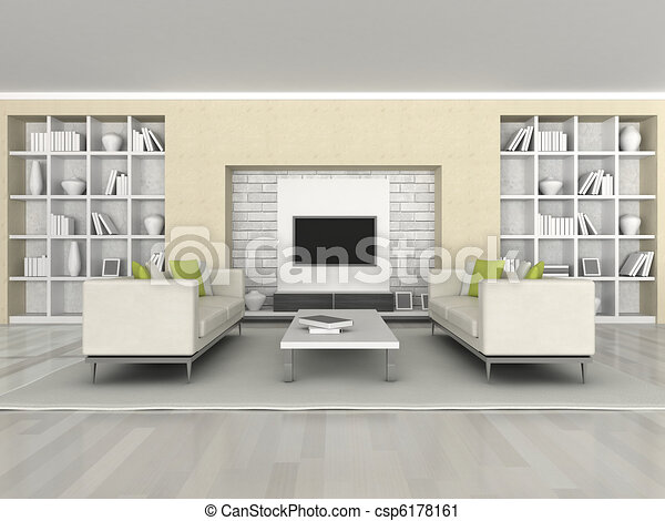 wewnętrzny, nowoczesny pokój - csp6178161