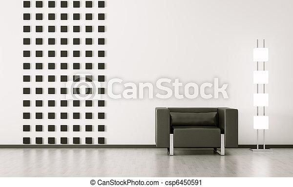 wewnętrzny, nowoczesny pokój, render, 3d - csp6450591