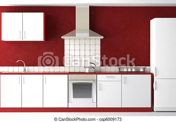 wewnętrzny, nowoczesny, projektować, kuchnia - csp6009173