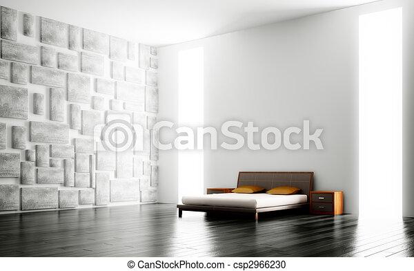 wewnętrzny, nowoczesny, sypialnia, 3d - csp2966230