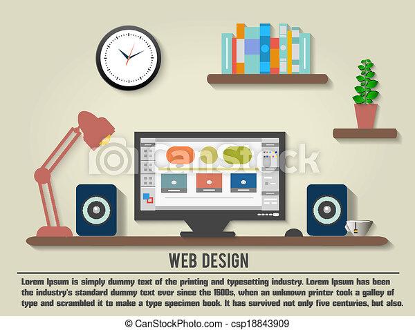 wewnętrzny projektodawca, nowoczesny, biuro, desktop - csp18843909