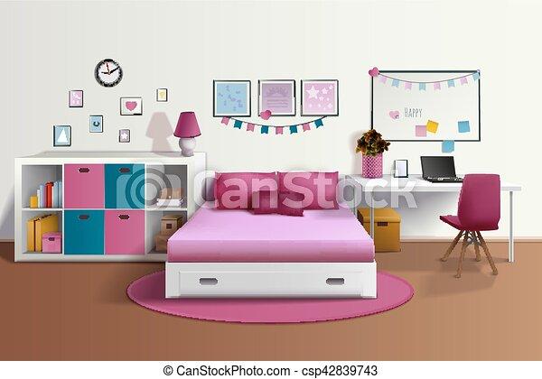 wewnętrzny, realistyczny, dziewczyna, pokój - csp42839743