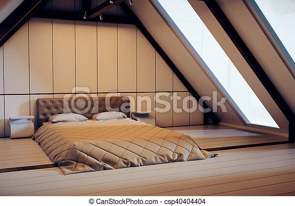 Wewnętrzny Strych Sypialnia