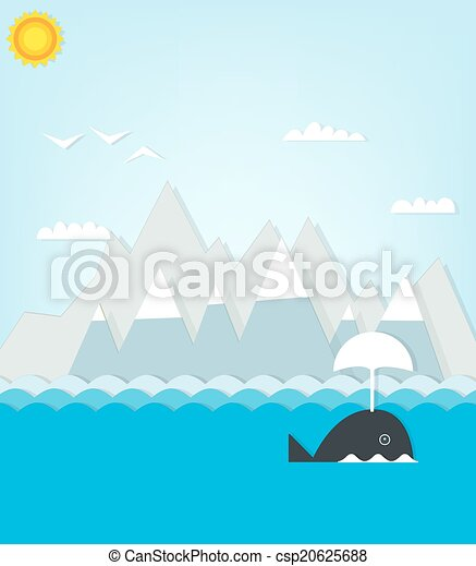 whale floating on a background of mountains. - csp20625688