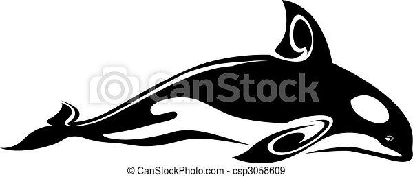 Whale tattoo - csp3058609