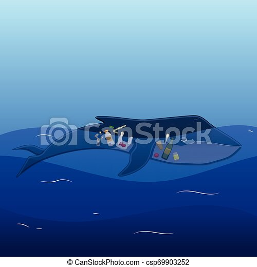Whale with trash inside - csp69903252