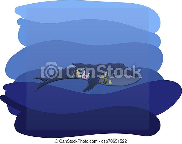 Whale with trash inside under the water - csp70651522