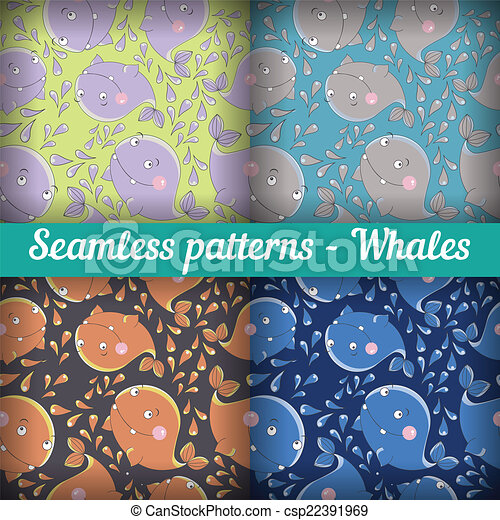 Whales. Set of abstract seamless pattern. Template backdrop for a nursery or playroom, bathroom. - csp22391969