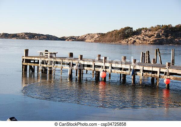 Wharf by the ocean in winter - csp34725858
