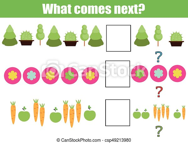 What comes next educational children game. Kids activity sheet, continue the row, logic puzzle - csp49213980