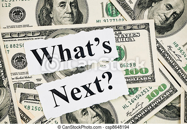 What is next concept, words on hundreds US notes - csp8648194