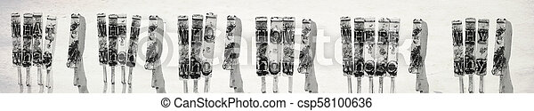 what ? when? who ?where ? why ? wit old typewrighter hammers i - csp58100636
