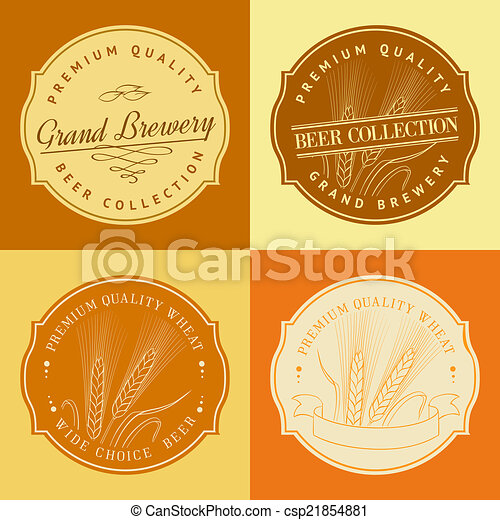 Wheat ear in frame for agriculture logo. vector illustration.