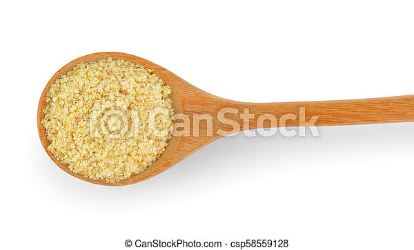 Wheat germ in wood spoon on white background - csp58559128