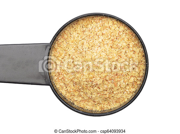 Wheat germs in measuring spoon on white background - csp64093934