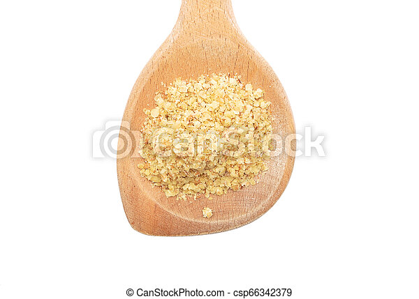 Wheat germs on wooden spoon on white background - csp66342379