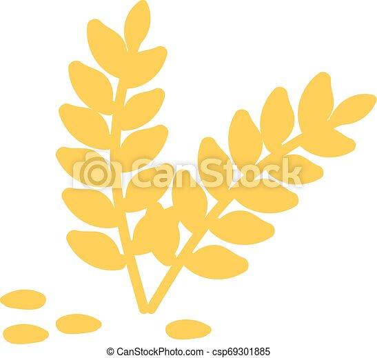 Wheat hand drawn design, illustration, vector on white background. - csp69301885