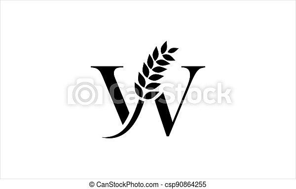 wheat logo letter W vector illustration - csp90864255