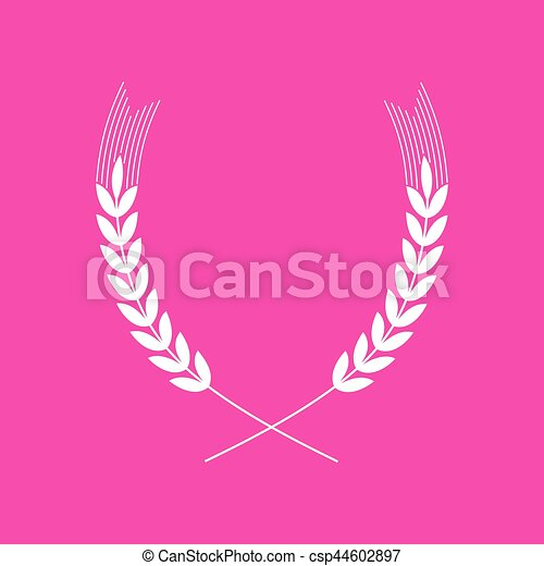 Wheat sign illustration. White icon at magenta background. - csp44602897
