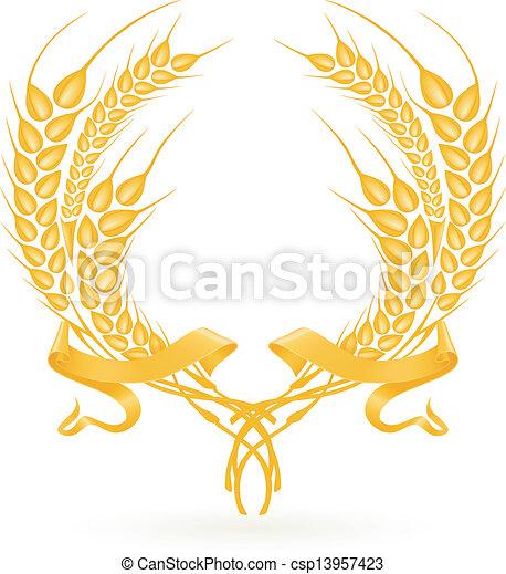 Wheat wreath, vector - csp13957423