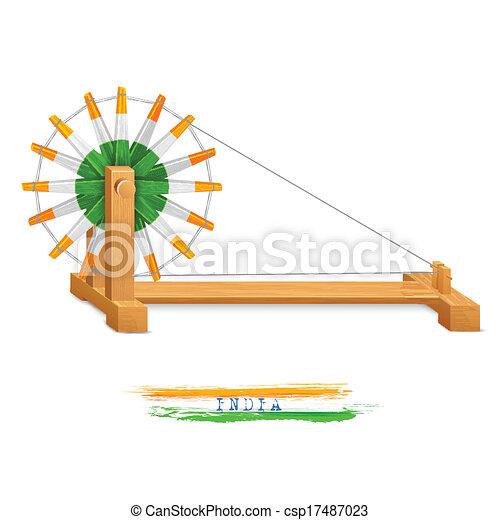 Tricolor Charkha (Trillero) - csp17487023