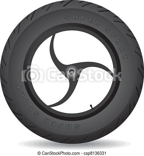 Wheel for a sports bike - vector. - csp8136331