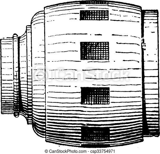 Wheel Hub, vintage engraving - csp33754971