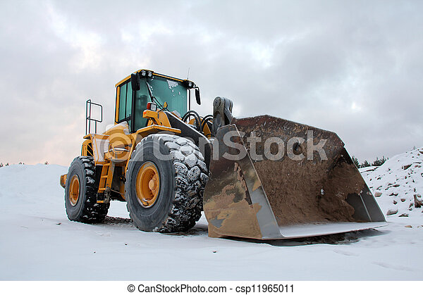 Wheel Loader at Winter Sand Pit - csp11965011