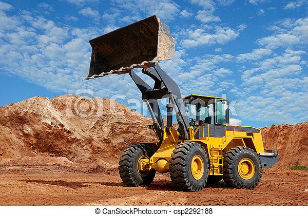 wheel loader bulldozer in sandpit - csp2292188