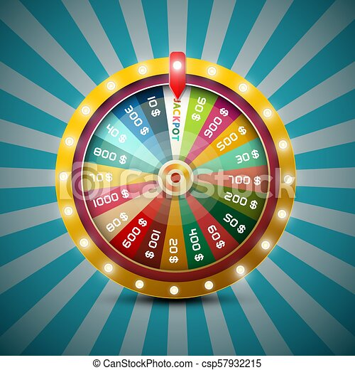 Wheel of Fortune on Retro Blue Background - csp57932215