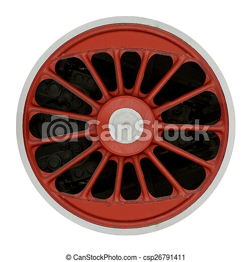 Wheel of steam locomotive - csp26791411