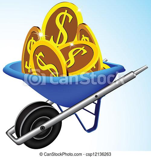 wheelbarrow and money abstract vector art illustration